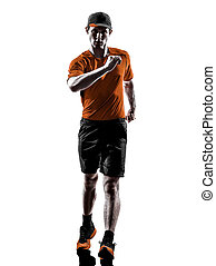 läufer, jogger, silhouette, mann