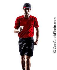 läufer, jogger, silhouette