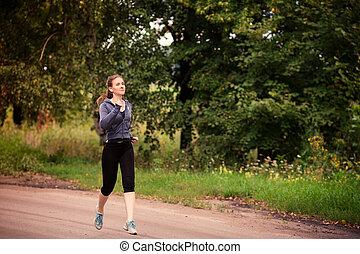 läufer, jogging, frau, draußen, natur