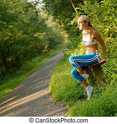 läufer, junger, hübsch