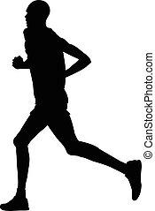 läufer, kenianer, mann, silhouette, schwarz