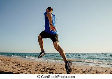 läufer, laufen zurück, mann