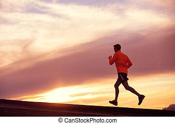 läufer, laufender mann, sonnenuntergang, silhouette