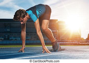 läufer, linie, beginnen, markierung