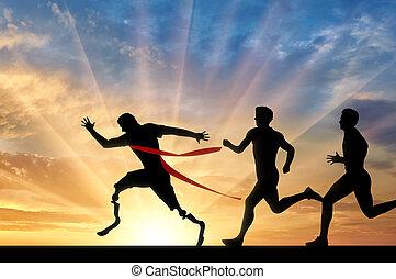 läufer, paralympic, prothese, läufer, normal