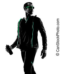 läufer, porträt, mann, silhouette, jogger