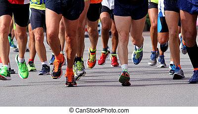 läufer, rennen, zu, der, zielband, von, der, marathon