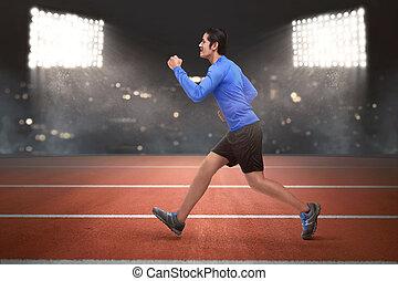 läufer, rennender , asiatisch, junger mann