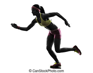 läufer, rennender , frau, silhouette