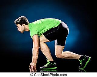 läufer, rennender , freigestellt, jogger, jogging, mann