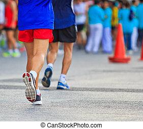 läufer, rennender , und, marathon