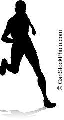 läufer, rennsport, fährte feld, silhouette