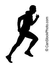 läufer, schwarzer mann, silhouette