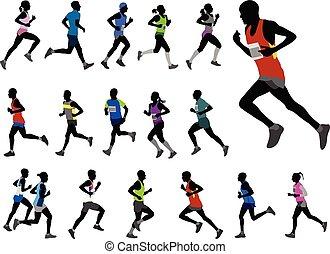 läufer, silhouetten, sammlung