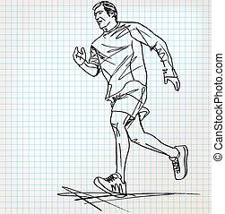 läufer, skizze, mann, abbildung