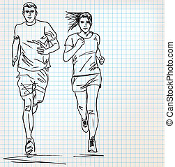 läufer, skizze, mann, weibliche , abbildung