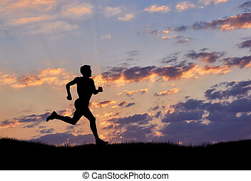 läufer, sonnenuntergang, silhouette, mann