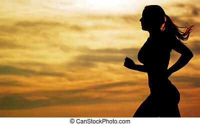 läufer, sonnenuntergang