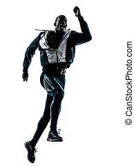 läufer, sprinter, mann, silhouette, jogger
