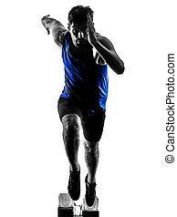 läufer, sprinter, rennender , sprinten, athletik, mann, silhouette, isola