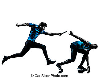 läufer, sprinter, silhouette, stab übergabe, mann
