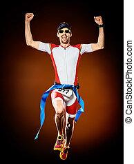 läufer, triathlon, freigestellt, bemannen lauf, ironman