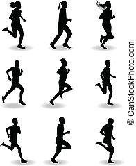 läufer, vektor, silhouette