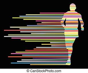 läufer, vektor, silhouette, mann