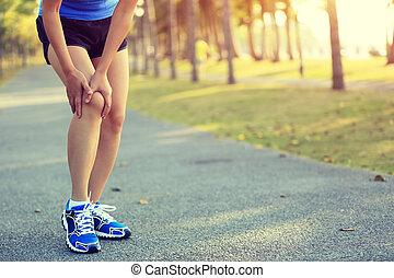 läufer, verletzte frau, sport, bein