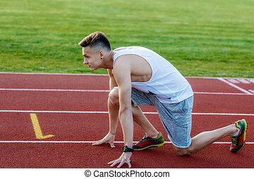 läufer, warten, startblock