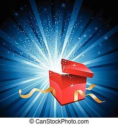 låda öppna, gåva