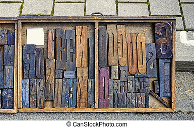 låda, blandning, typ, ved, skrivbord