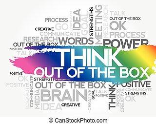 låda ute, ord, moln, tänka