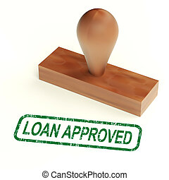 lån, anerkendt, gummi stæmpl, show, kredit, låne, godke