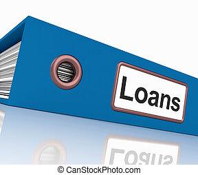 lån, fil, behersker, låne, eller, udlåning, paperwork