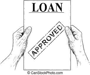 lån, illustration, eller, ansøgning, vektor, kunstneriske, hånd ind hånd, affattelseen, dokument, anerkendt
