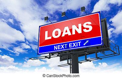 lån, indskrift, på, rød, billboard.