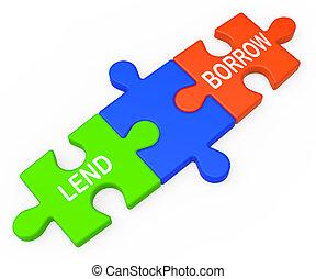 låna, lånande, inlån, låna, eller, visar