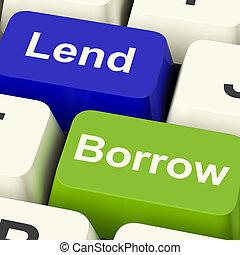 låna, stämm, visande, inlån, låna, eller, lånande, interne