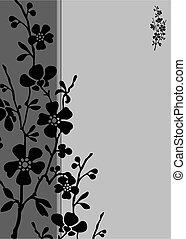 lång, ram, blomma, vektor