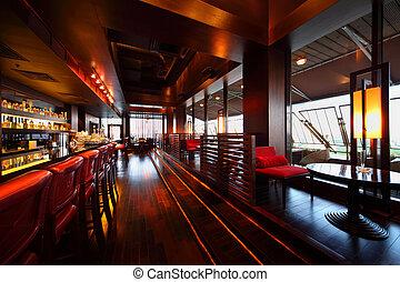 lång, sittplatser, tom, stol, bordläggar, rad, disk, röd barrikadera, mysig, restaurang