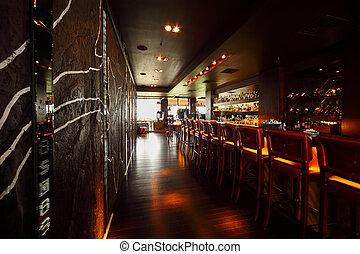 lång, tom, stol, komfortabel, disk, röd barrikadera, restaurang