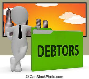 långiver, gengivelse, debitorer, brochuren, gæld, angi, 3