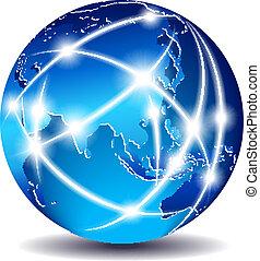 långt, kommunikation, öster, -, värld