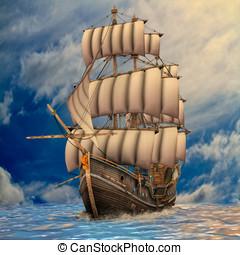 långt skepp, segla, in, grov, sjögånger