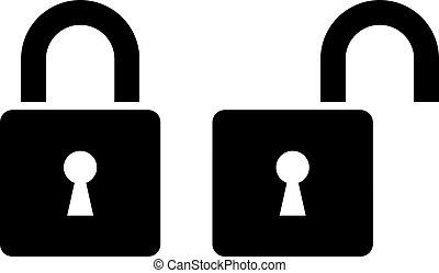 lås, åbn, ikon, aflukket