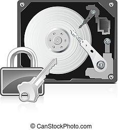 lås, computer, harddrive
