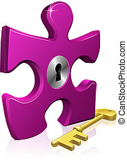 lås, jigsaw, nøgle, stykke