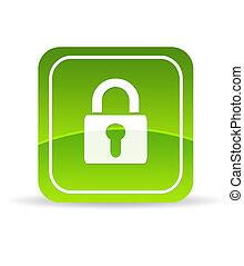 låsa, grön, ikon