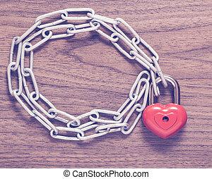 låsa, hjärta, med, chain.
